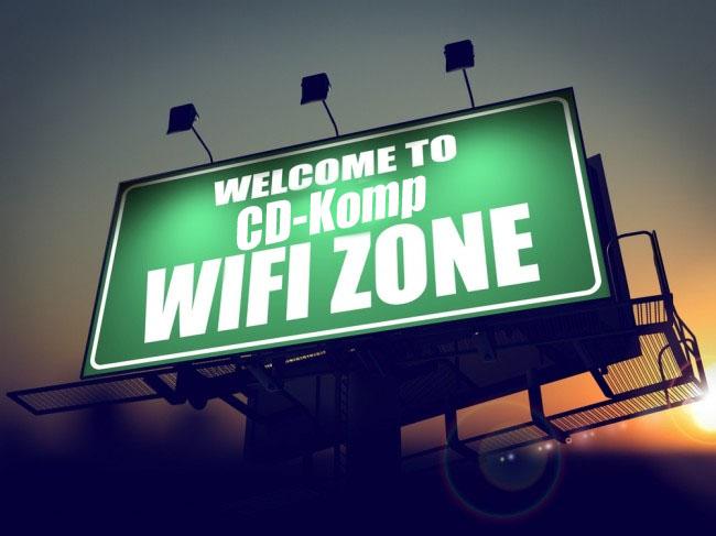 baner z napisem Welcome to CD-Komp WiFi Zone