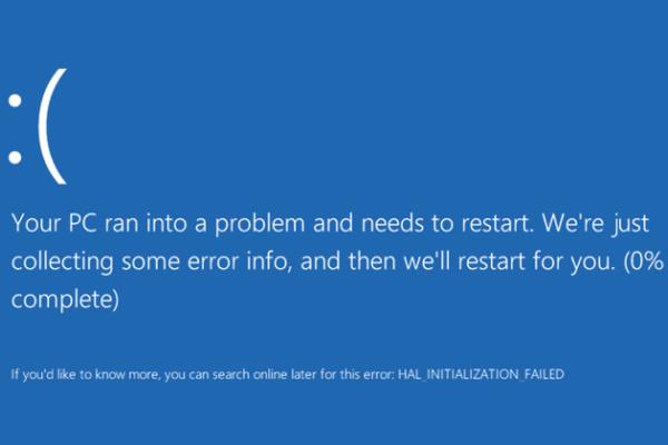 Przykładowy Blue screen z Windows 10